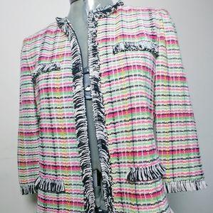 St John Muted Neons Tweed Blazer Fringe Trim Sz2